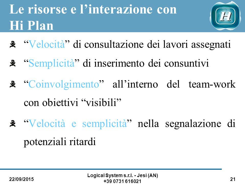 """22/09/2015 Logical System s.r.l. - Jesi (AN) +39 0731 616021 21 Le risorse e l'interazione con Hi Plan """"Velocità"""" di consultazione dei lavori assegnat"""