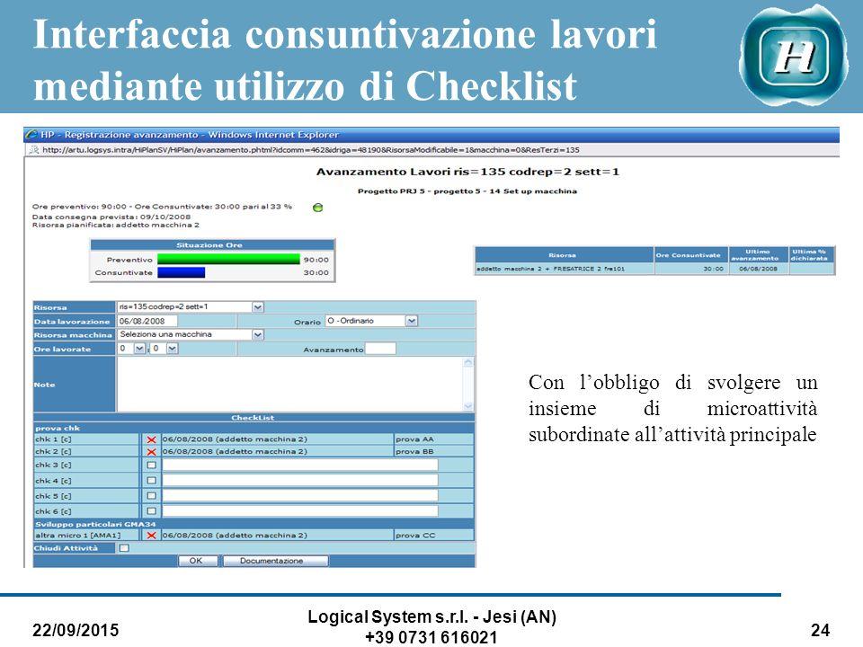 22/09/2015 Logical System s.r.l. - Jesi (AN) +39 0731 616021 24 Interfaccia consuntivazione lavori mediante utilizzo di Checklist Con l'obbligo di svo