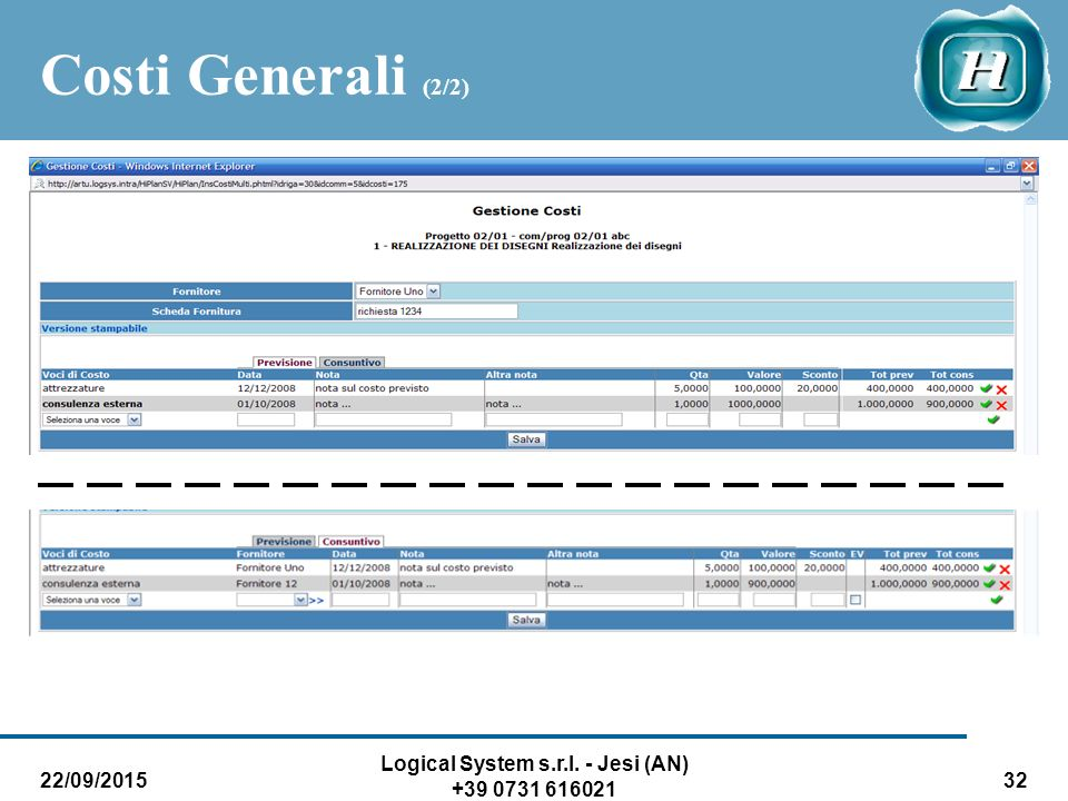 22/09/2015 Logical System s.r.l. - Jesi (AN) +39 0731 616021 32 Costi Generali (2/2)