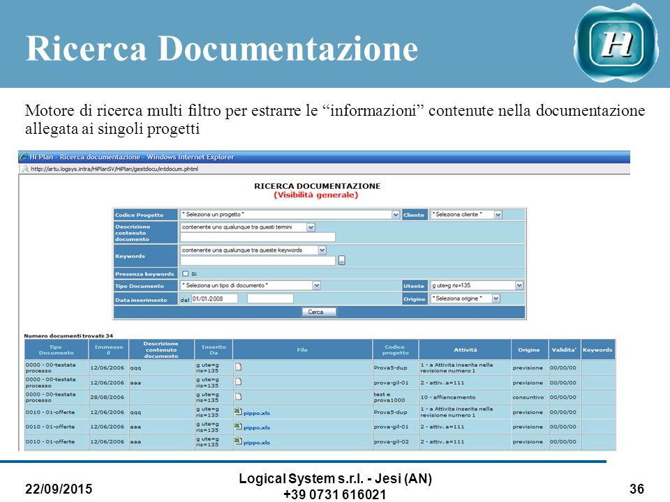 "22/09/2015 Logical System s.r.l. - Jesi (AN) +39 0731 616021 36 Ricerca Documentazione Motore di ricerca multi filtro per estrarre le ""informazioni"" c"