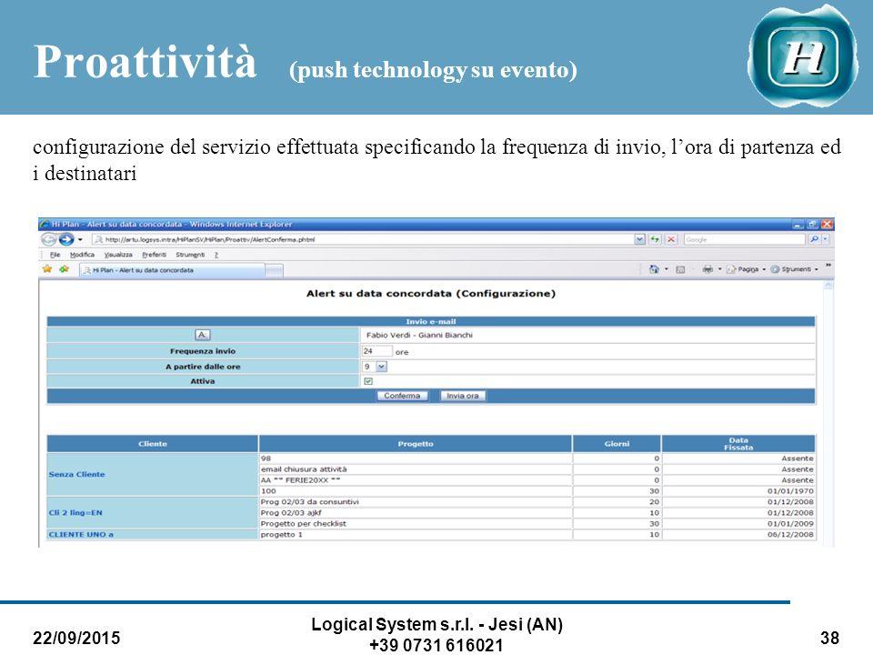 22/09/2015 Logical System s.r.l. - Jesi (AN) +39 0731 616021 38 Proattività (push technology su evento) configurazione del servizio effettuata specifi