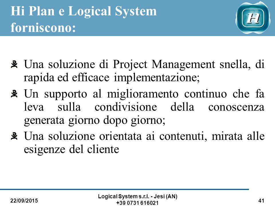 22/09/2015 Logical System s.r.l. - Jesi (AN) +39 0731 616021 41 Hi Plan e Logical System forniscono: Una soluzione di Project Management snella, di ra
