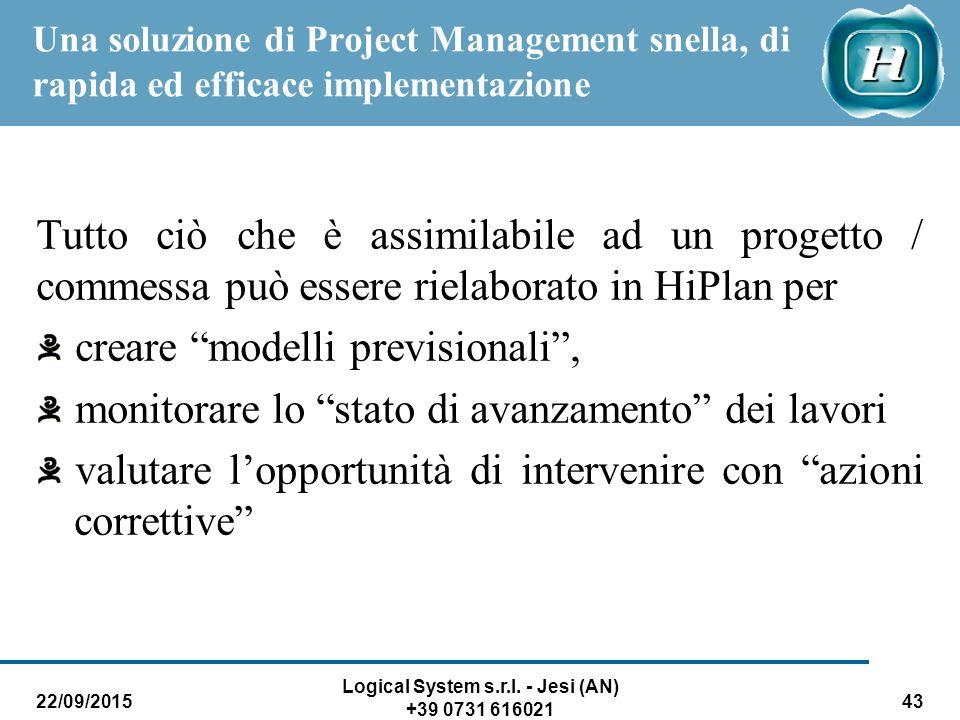 22/09/2015 Logical System s.r.l. - Jesi (AN) +39 0731 616021 43 Una soluzione di Project Management snella, di rapida ed efficace implementazione Tutt