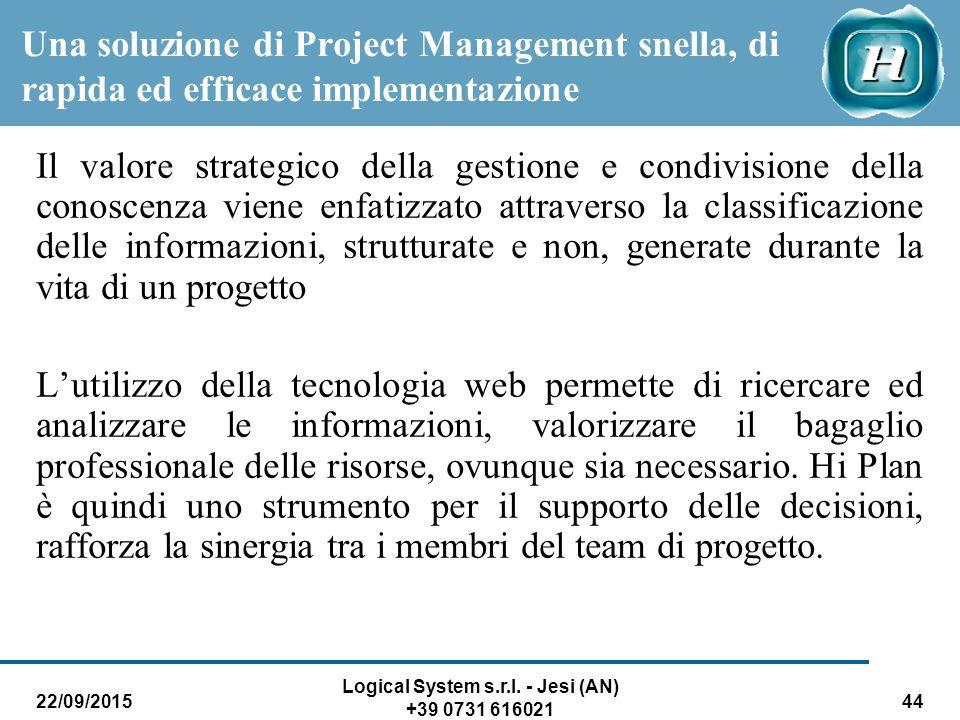 22/09/2015 Logical System s.r.l. - Jesi (AN) +39 0731 616021 44 Il valore strategico della gestione e condivisione della conoscenza viene enfatizzato