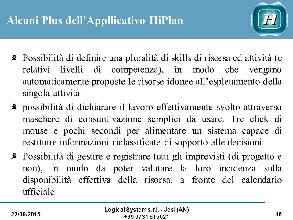 22/09/2015 Logical System s.r.l. - Jesi (AN) +39 0731 616021 46 Possibilità di definire una pluralità di skills di risorsa ed attività (e relativi liv