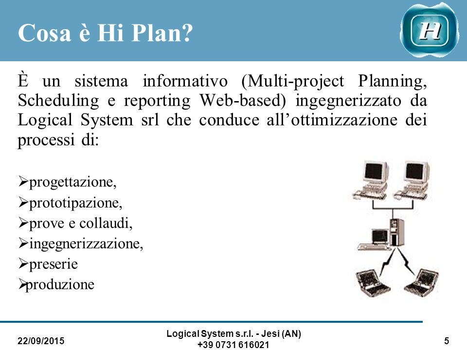 22/09/2015 Logical System s.r.l.- Jesi (AN) +39 0731 616021 5 Cosa è Hi Plan.