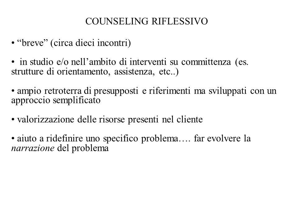 """COUNSELING RIFLESSIVO """"breve"""" (circa dieci incontri) in studio e/o nell'ambito di interventi su committenza (es. strutture di orientamento, assistenza"""