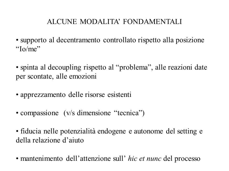 """ALCUNE MODALITA' FONDAMENTALI supporto al decentramento controllato rispetto alla posizione """"Io/me"""" spinta al decoupling rispetto al """"problema"""", alle"""