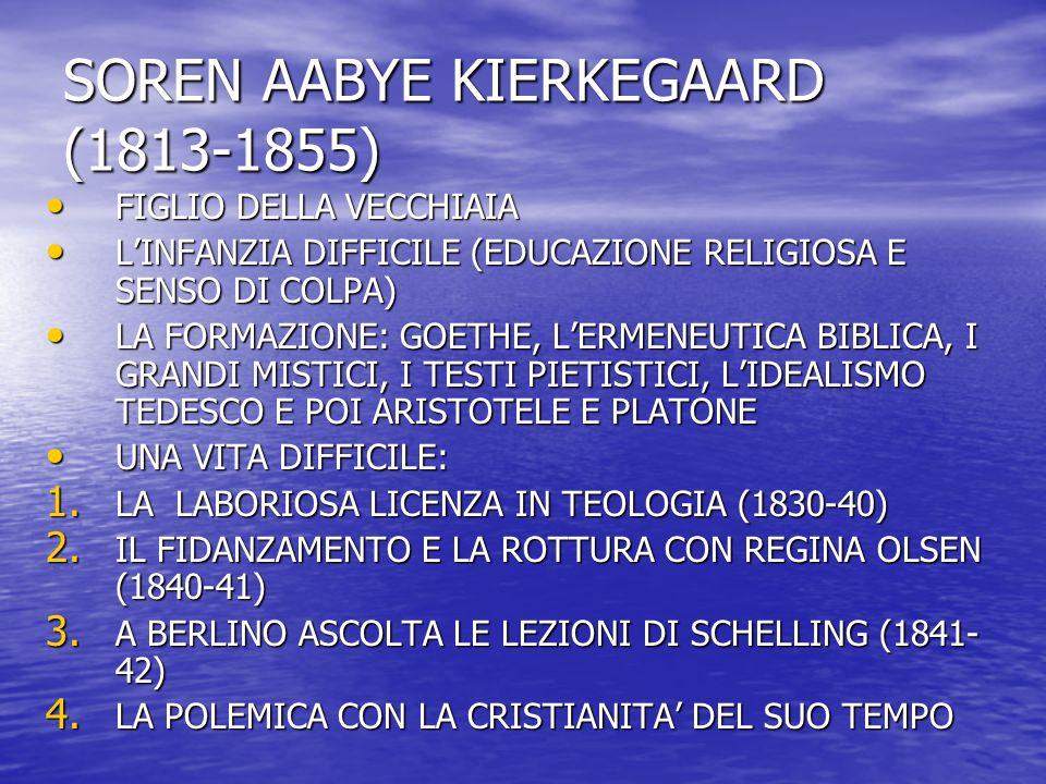 SOREN AABYE KIERKEGAARD (1813-1855) FIGLIO DELLA VECCHIAIA FIGLIO DELLA VECCHIAIA L'INFANZIA DIFFICILE (EDUCAZIONE RELIGIOSA E SENSO DI COLPA) L'INFAN