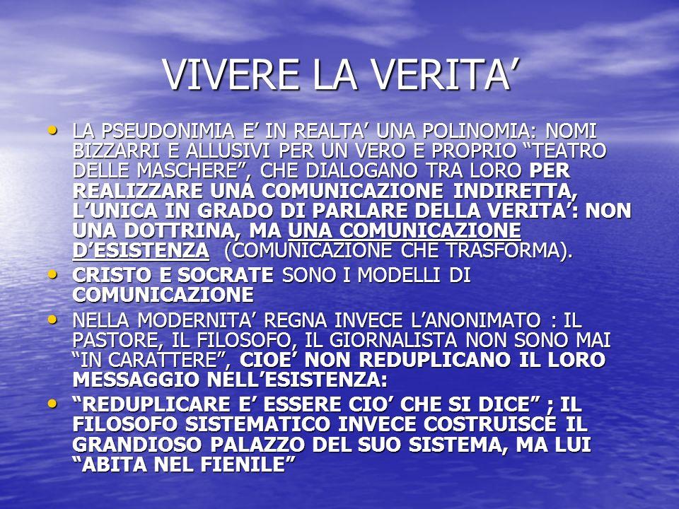 L'ETERNO NEL TEMPO LA STORIA NON E' TEOFANIA (HEGEL): E' NELL'ATTIMO CHE ACCADE L'INSERZIONE DELLA VERITA' DIVINA NELLA VITA DELL'UOMO LA STORIA NON E' TEOFANIA (HEGEL): E' NELL'ATTIMO CHE ACCADE L'INSERZIONE DELLA VERITA' DIVINA NELLA VITA DELL'UOMO L'UOMO VIVE NELLA NON-VERITA' (LA VERITA' E' DIO):EGLI PERCIO' NON PUO' ESSERE AIUTATO A PARTORIRLA (SOCRATE), MA RESO ADATTO (RICREATO, REDENTO) A UNA VERITA' CHE GLI VIENE DA FUORI (il maestro è un salvatore, non un'occasione per il processo maieutico) L'UOMO VIVE NELLA NON-VERITA' (LA VERITA' E' DIO):EGLI PERCIO' NON PUO' ESSERE AIUTATO A PARTORIRLA (SOCRATE), MA RESO ADATTO (RICREATO, REDENTO) A UNA VERITA' CHE GLI VIENE DA FUORI (il maestro è un salvatore, non un'occasione per il processo maieutico) L'ATTIMO E' L'INSERZIONE INCOMPRENSIBILE (E INDEDUCIBILE) DELL'ETERNITA' NEL TEMPO.