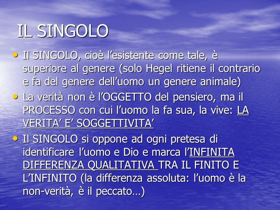 IL SINGOLO Il SINGOLO, cioè l'esistente come tale, è superiore al genere (solo Hegel ritiene il contrario e fa del genere dell'uomo un genere animale)