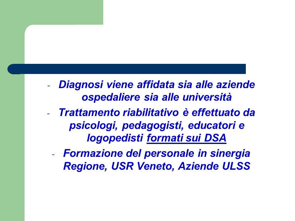 - Diagnosi viene affidata sia alle aziende ospedaliere sia alle università - Trattamento riabilitativo è effettuato da psicologi, pedagogisti, educato