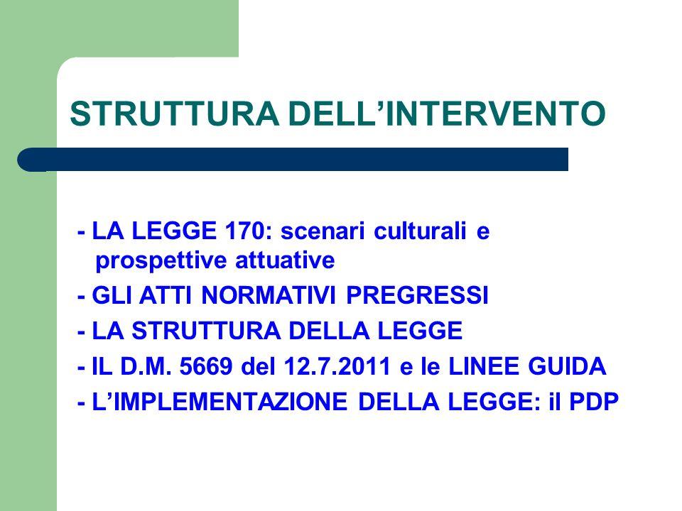 STRUTTURA DELL'INTERVENTO - LA LEGGE 170: scenari culturali e prospettive attuative - GLI ATTI NORMATIVI PREGRESSI - LA STRUTTURA DELLA LEGGE - IL D.M.