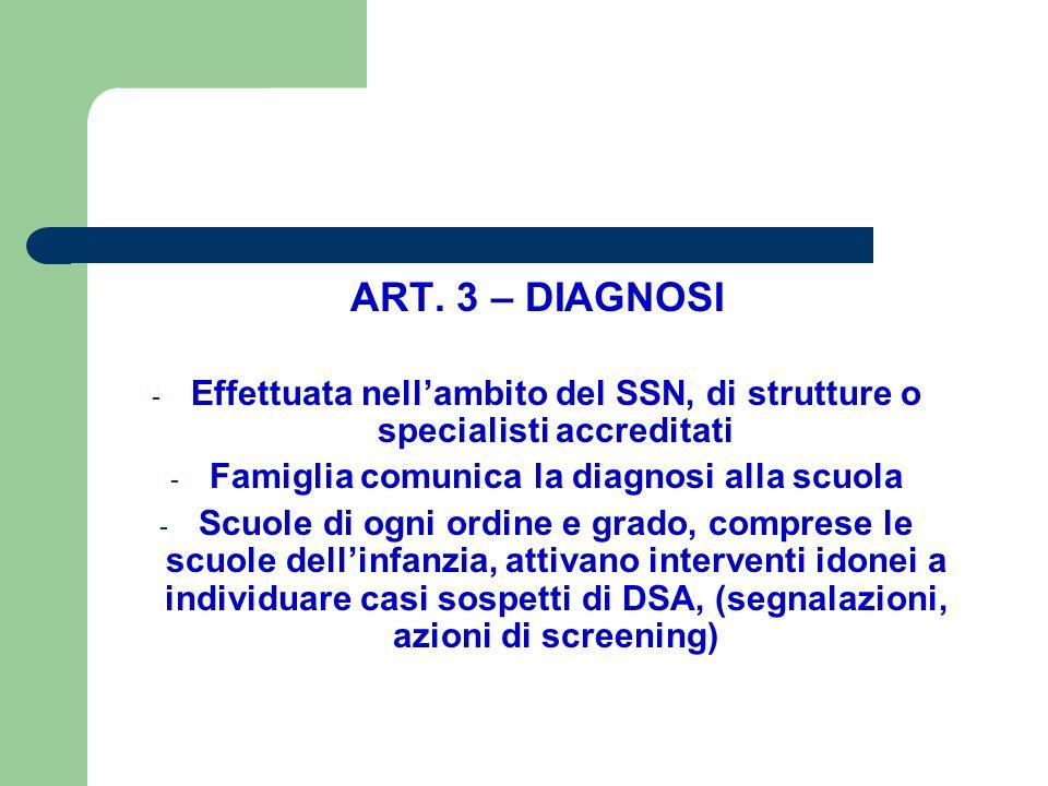 ART. 3 – DIAGNOSI - Effettuata nell'ambito del SSN, di strutture o specialisti accreditati - Famiglia comunica la diagnosi alla scuola - Scuole di ogn