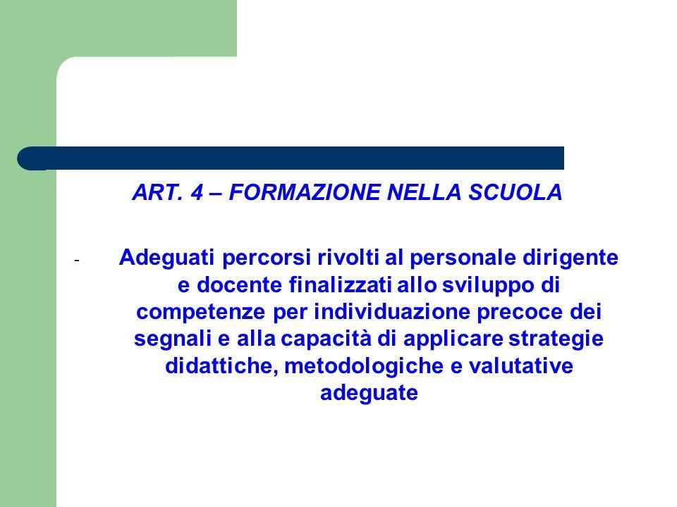 ART. 4 – FORMAZIONE NELLA SCUOLA - Adeguati percorsi rivolti al personale dirigente e docente finalizzati allo sviluppo di competenze per individuazio