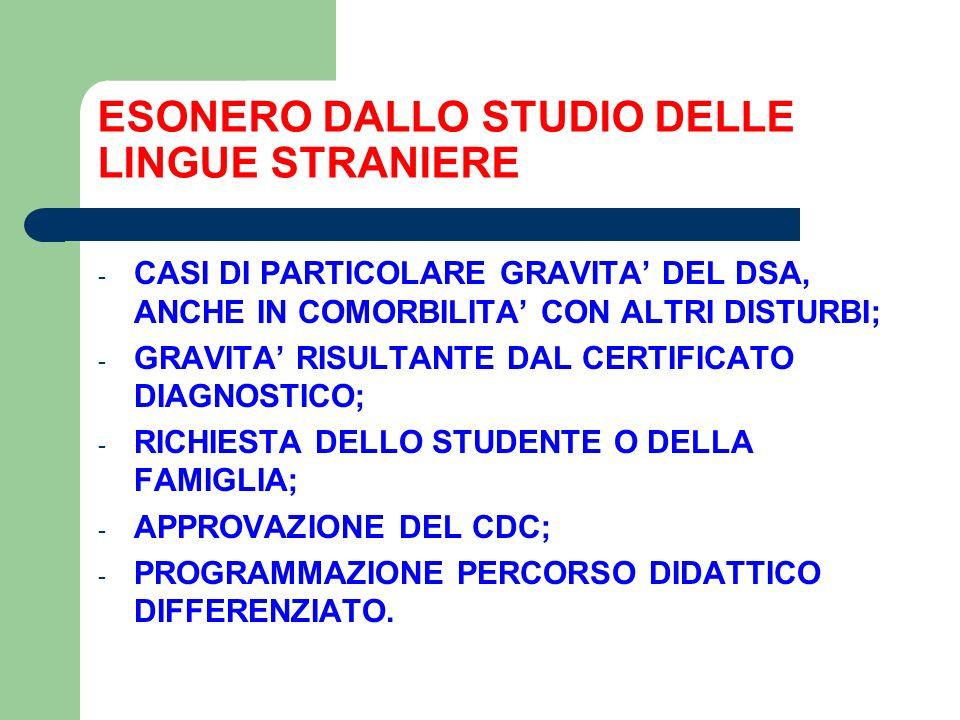 ESONERO DALLO STUDIO DELLE LINGUE STRANIERE - CASI DI PARTICOLARE GRAVITA' DEL DSA, ANCHE IN COMORBILITA' CON ALTRI DISTURBI; - GRAVITA' RISULTANTE DAL CERTIFICATO DIAGNOSTICO; - RICHIESTA DELLO STUDENTE O DELLA FAMIGLIA; - APPROVAZIONE DEL CDC; - PROGRAMMAZIONE PERCORSO DIDATTICO DIFFERENZIATO.