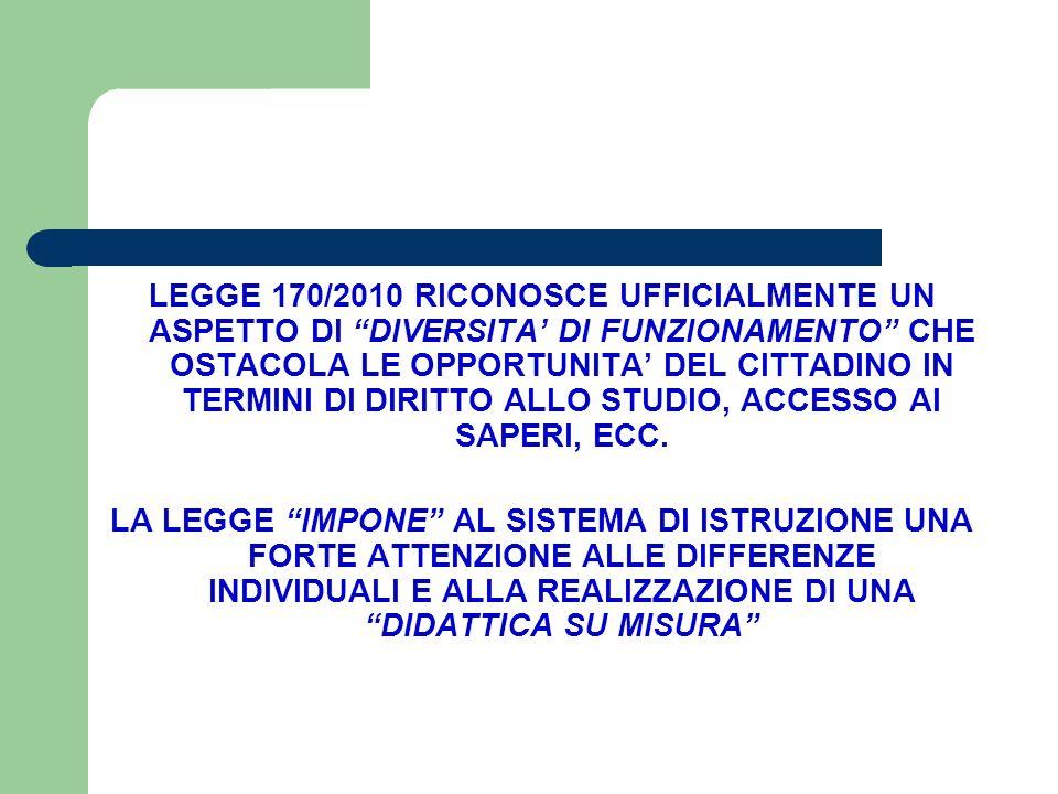 """LEGGE 170/2010 RICONOSCE UFFICIALMENTE UN ASPETTO DI """"DIVERSITA' DI FUNZIONAMENTO"""" CHE OSTACOLA LE OPPORTUNITA' DEL CITTADINO IN TERMINI DI DIRITTO AL"""