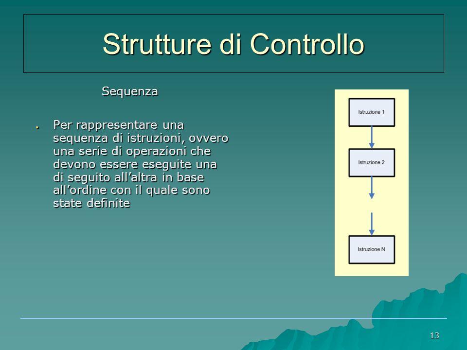 13 Sequenza Sequenza ● Per rappresentare una sequenza di istruzioni, ovvero una serie di operazioni che devono essere eseguite una di seguito all'altra in base all'ordine con il quale sono state definite Strutture di Controllo