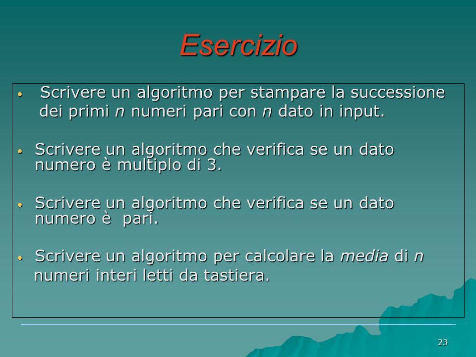 23 Esercizio Scrivere un algoritmo per stampare la successione Scrivere un algoritmo per stampare la successione dei primi n numeri pari con n dato in input.
