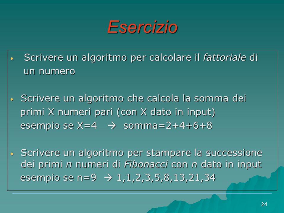 24 Esercizio Scrivere un algoritmo per calcolare il fattoriale di Scrivere un algoritmo per calcolare il fattoriale di un numero un numero Scrivere un algoritmo che calcola la somma dei Scrivere un algoritmo che calcola la somma dei primi X numeri pari (con X dato in input) primi X numeri pari (con X dato in input) esempio se X=4  somma=2+4+6+8 esempio se X=4  somma=2+4+6+8 Scrivere un algoritmo per stampare la successione dei primi n numeri di Fibonacci con n dato in input Scrivere un algoritmo per stampare la successione dei primi n numeri di Fibonacci con n dato in input esempio se n=9  1,1,2,3,5,8,13,21,34 esempio se n=9  1,1,2,3,5,8,13,21,34
