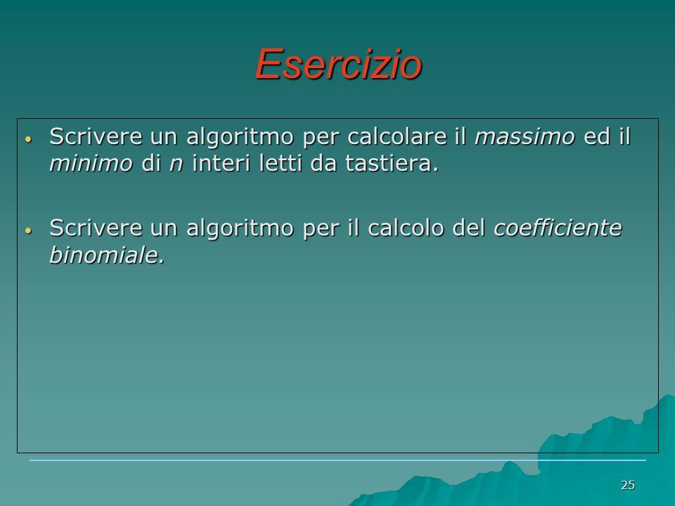25 Esercizio Scrivere un algoritmo per calcolare il massimo ed il minimo di n interi letti da tastiera.