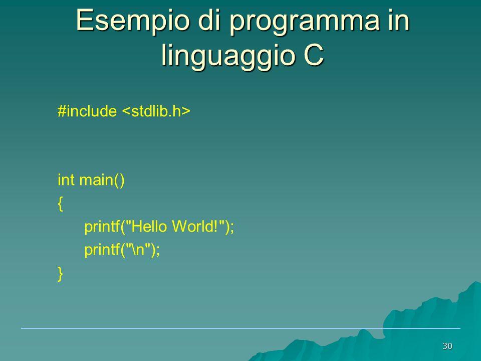 30 Esempio di programma in linguaggio C #include int main() { printf( Hello World! ); printf( \n ); }