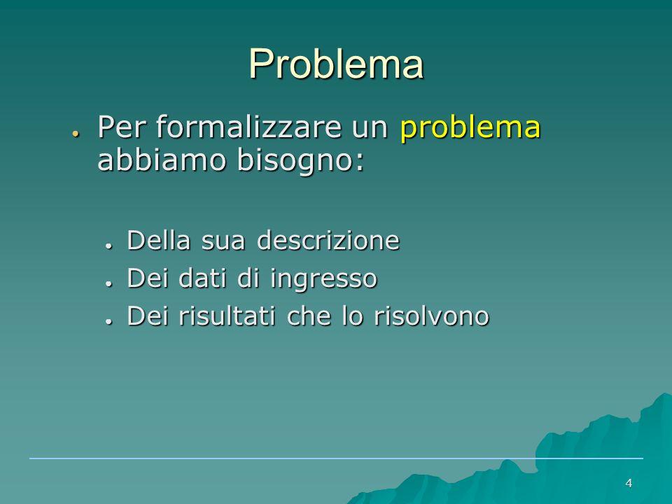 4 Problema ● Per formalizzare un problema abbiamo bisogno: ● Della sua descrizione ● Dei dati di ingresso ● Dei risultati che lo risolvono