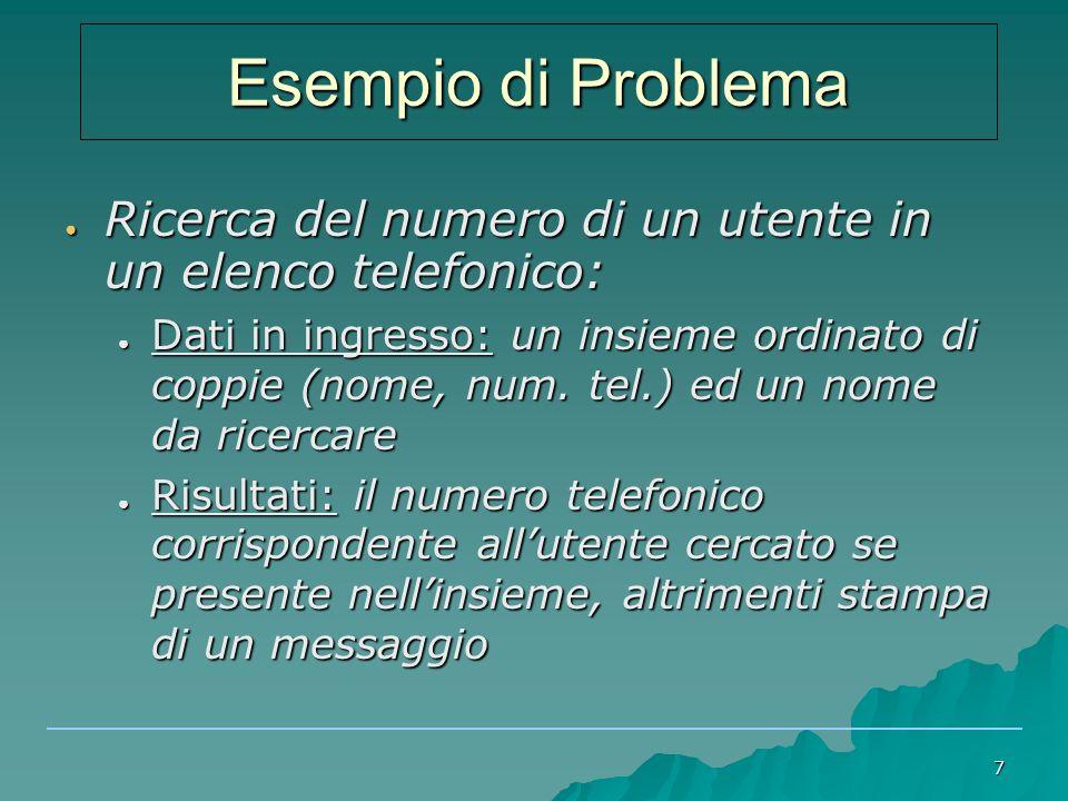 7 ● Ricerca del numero di un utente in un elenco telefonico: ● Dati in ingresso: un insieme ordinato di coppie (nome, num.