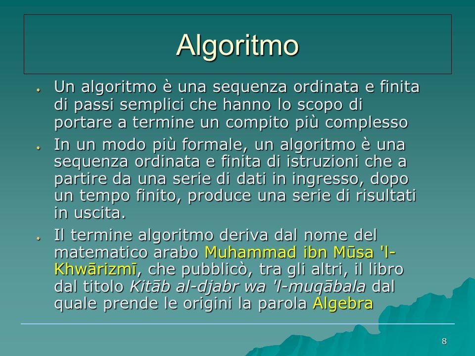 19 ● Algoritmo per determinare se il valore X è incluso nell'intervallo con estremi A e B