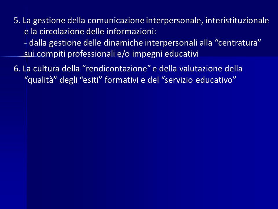 5. La gestione della comunicazione interpersonale, interistituzionale e la circolazione delle informazioni: - dalla gestione delle dinamiche interpers