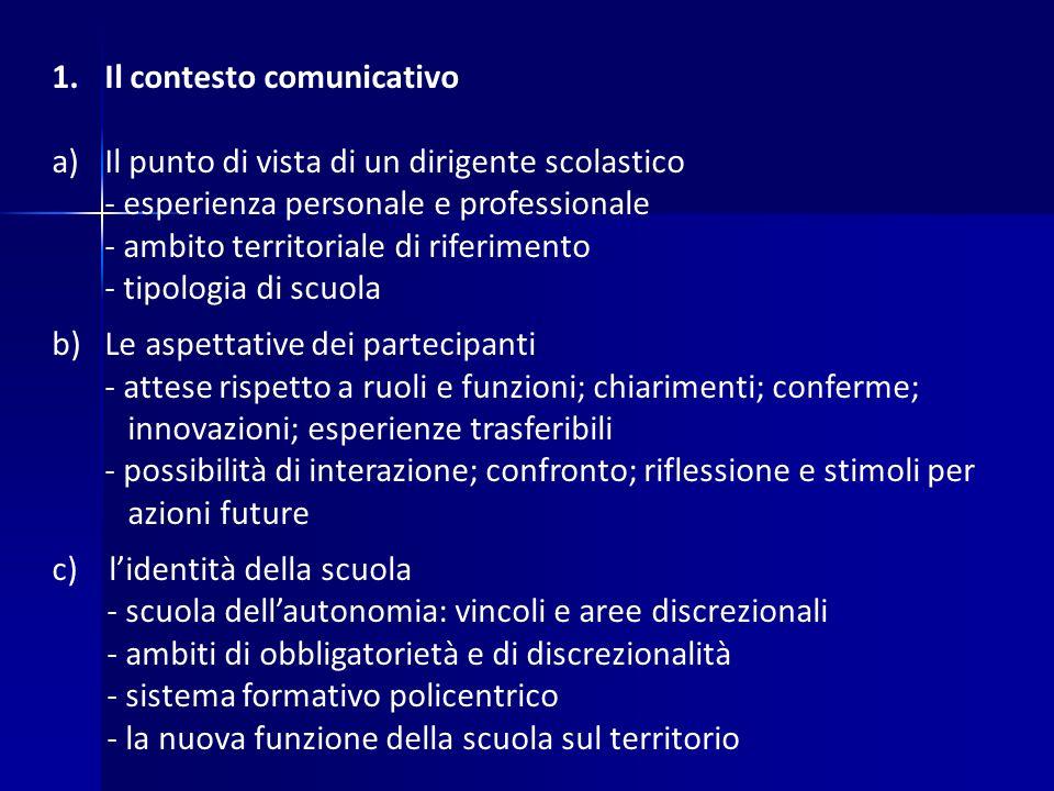 1.Il contesto comunicativo a)Il punto di vista di un dirigente scolastico - esperienza personale e professionale - ambito territoriale di riferimento