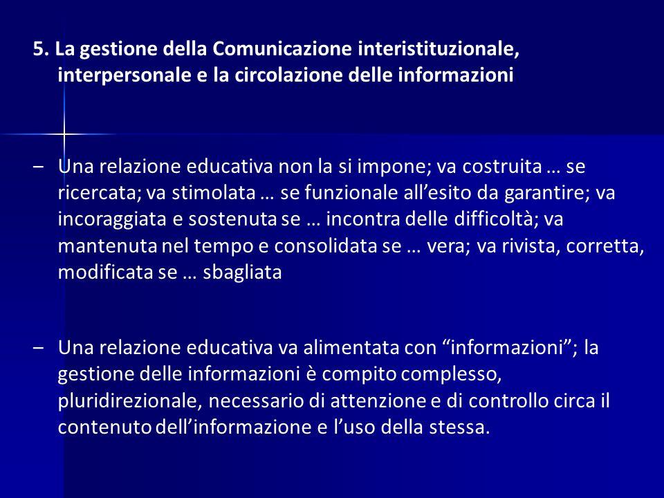 5. La gestione della Comunicazione interistituzionale, interpersonale e la circolazione delle informazioni ‒Una relazione educativa non la si impone;