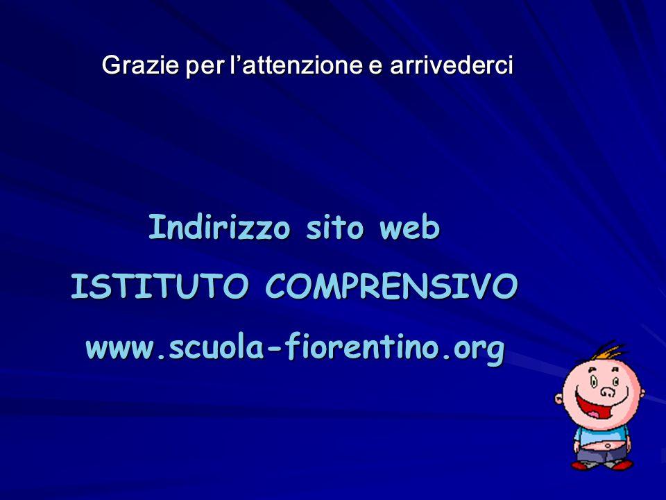 Indirizzo sito web ISTITUTO COMPRENSIVO www.scuola-fiorentino.org Grazie per l'attenzione e arrivederci Grazie per l'attenzione e arrivederci