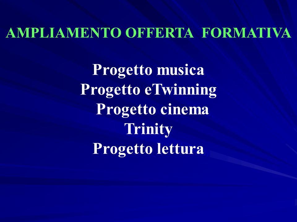 AMPLIAMENTO OFFERTA FORMATIVA Progetto musica Progetto eTwinning Progetto cinema Trinity Progetto lettura