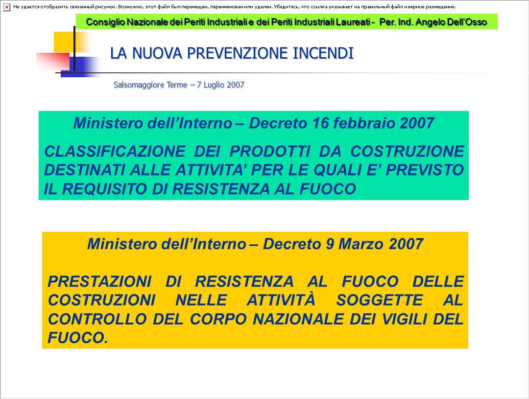 Ministero dell'Interno – Decreto 16 febbraio 2007 CLASSIFICAZIONE DEI PRODOTTI DA COSTRUZIONE DESTINATI ALLE ATTIVITA' PER LE QUALI E' PREVISTO IL REQ