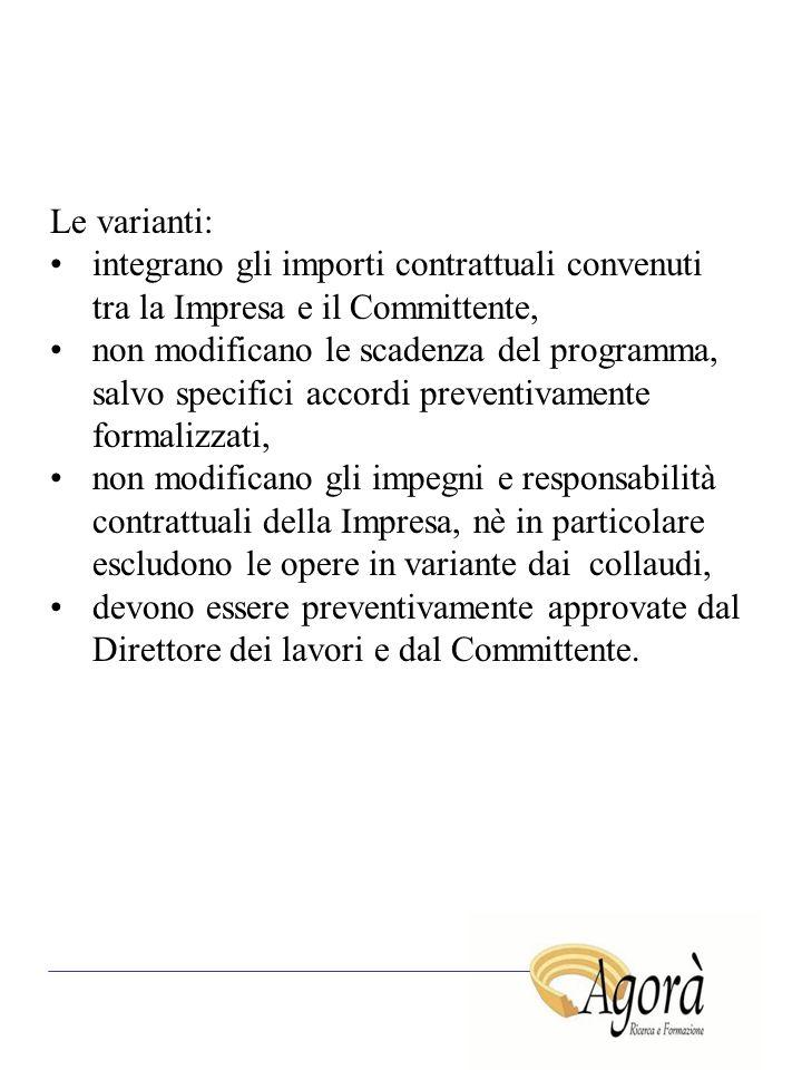 Le varianti: integrano gli importi contrattuali convenuti tra la Impresa e il Committente, non modificano le scadenza del programma, salvo specifici a