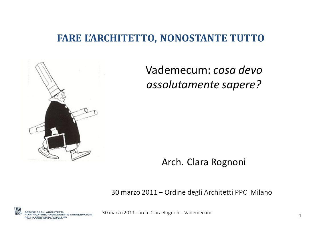 PER TROVARE UN LAVORO 30 marzo 2011 - arch.Clara Rognoni - Vademecum12 Chiediti...