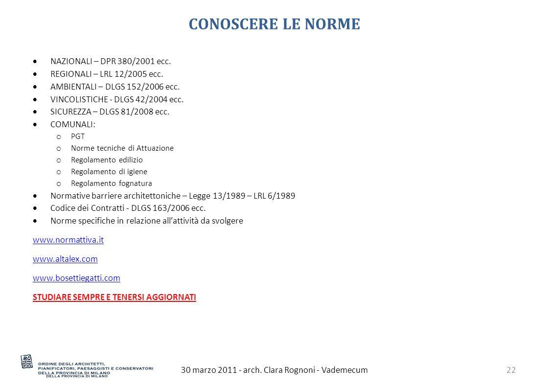 CONOSCERE LE NORME 30 marzo 2011 - arch.
