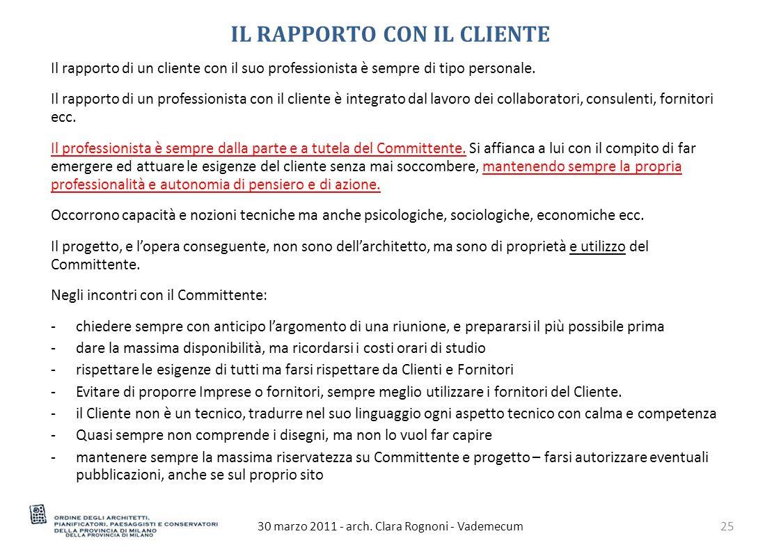 IL RAPPORTO CON IL CLIENTE 30 marzo 2011 - arch.