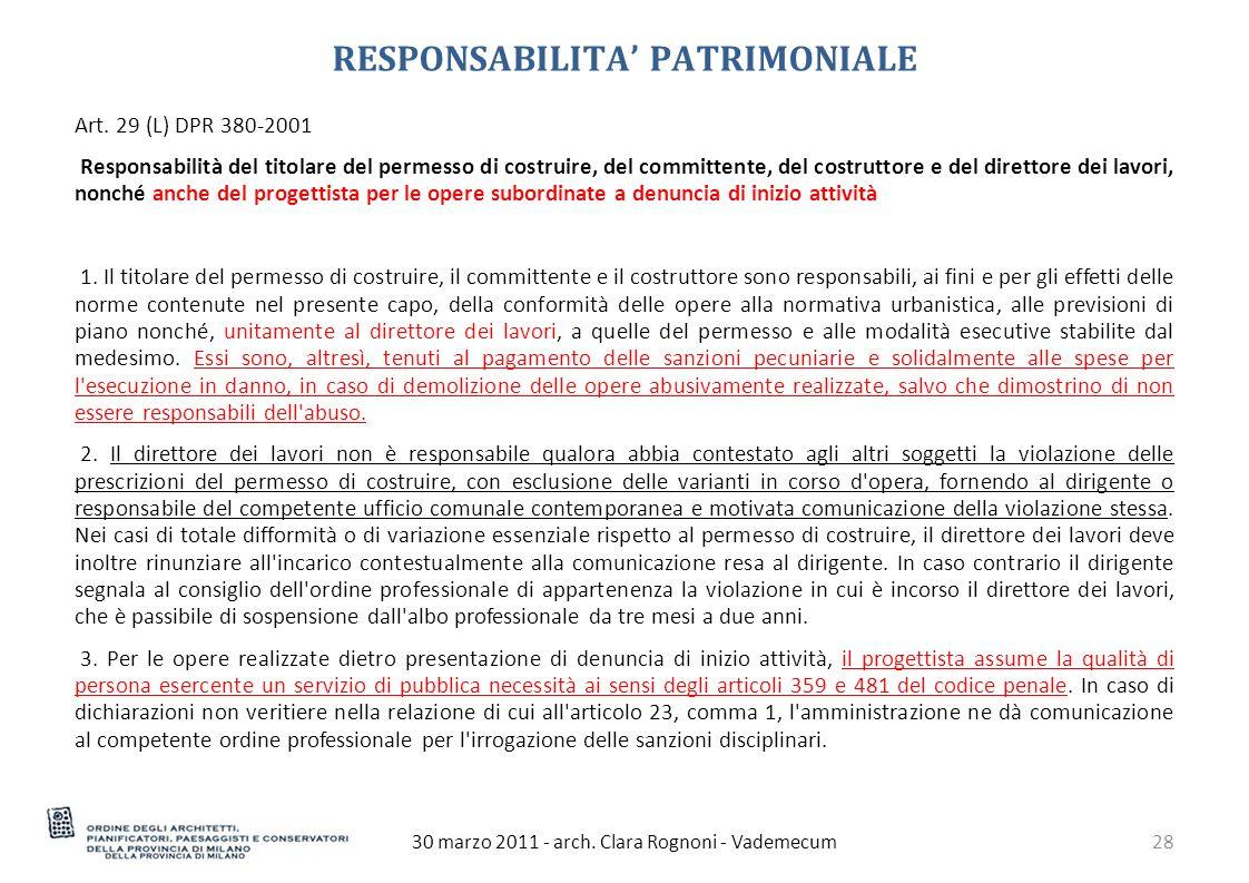 RESPONSABILITA' PATRIMONIALE 30 marzo 2011 - arch.