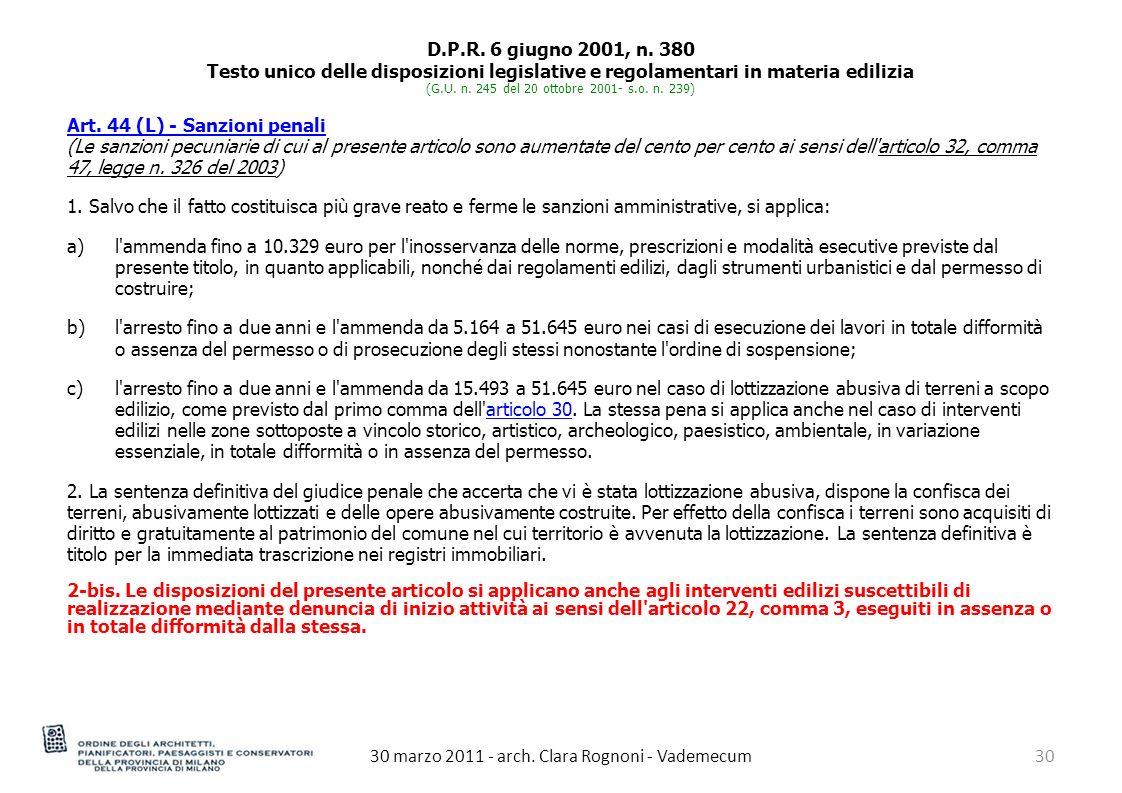 30 marzo 2011 - arch.Clara Rognoni - Vademecum30 D.P.R.