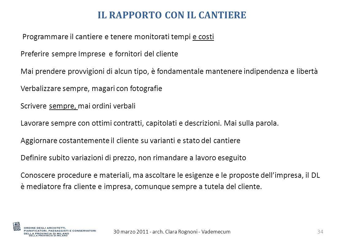 IL RAPPORTO CON IL CANTIERE 30 marzo 2011 - arch.