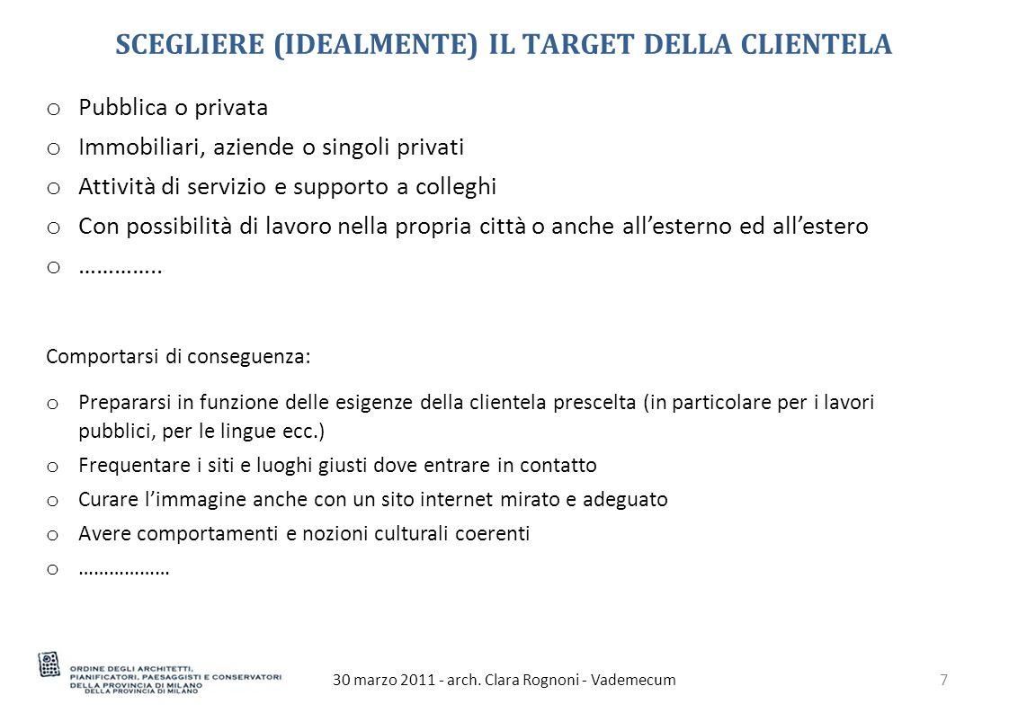 30 marzo 2011 - arch.Clara Rognoni - Vademecum8 APRIRE UNO STUDIO Per iniziare scegliere una sede.