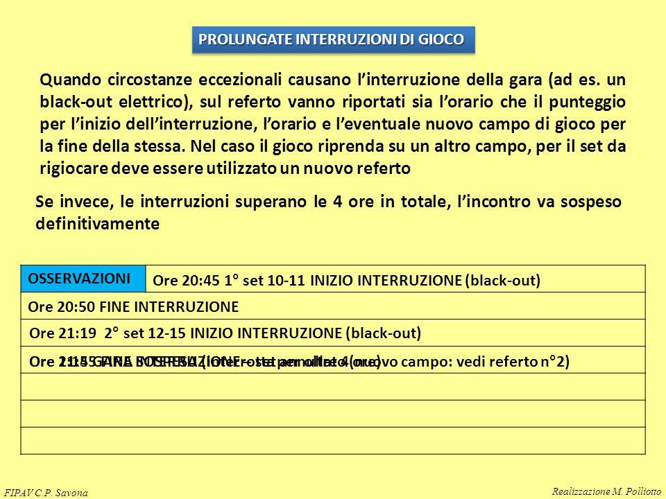 OSSERVAZIONI PROLUNGATE INTERRUZIONI DI GIOCO Quando circostanze eccezionali causano l'interruzione della gara (ad es. un black-out elettrico), sul re