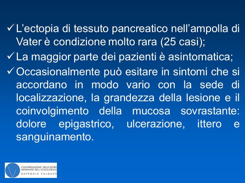 L'ectopia di tessuto pancreatico nell'ampolla di Vater è condizione molto rara (25 casi); La maggior parte dei pazienti è asintomatica; Occasionalment
