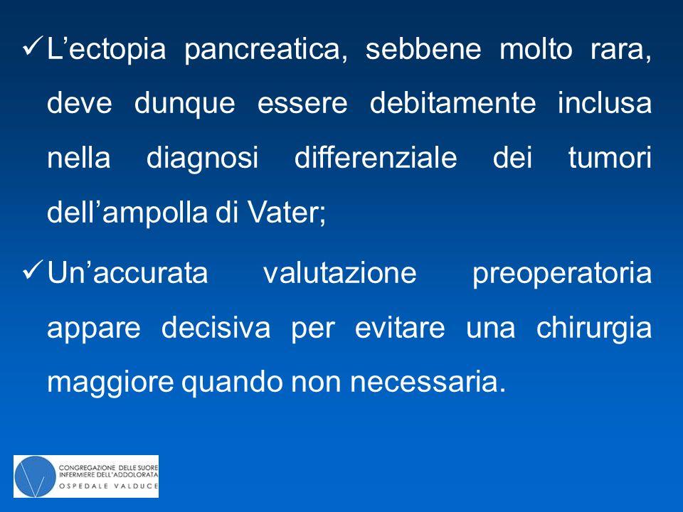 L'ectopia pancreatica, sebbene molto rara, deve dunque essere debitamente inclusa nella diagnosi differenziale dei tumori dell'ampolla di Vater; Un'ac
