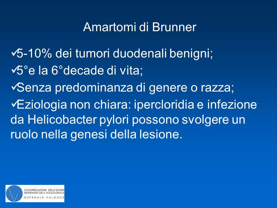 Amartomi di Brunner 5-10% dei tumori duodenali benigni; 5°e la 6°decade di vita; Senza predominanza di genere o razza; Eziologia non chiara: iperclori