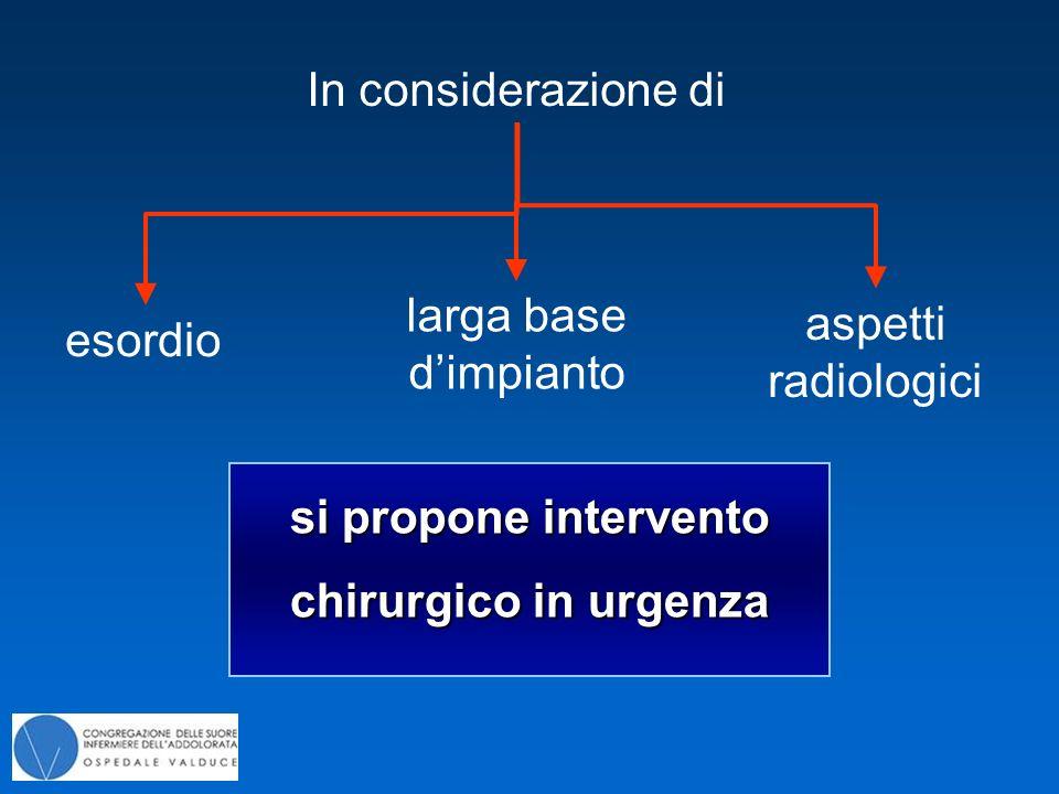 esordio In considerazione di larga base d'impianto aspetti radiologici si propone intervento chirurgico in urgenza
