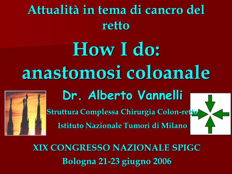Dr. Alberto Vannelli Struttura Complessa Chirurgia Colon-retto Istituto Nazionale Tumori di Milano Attualità in tema di cancro del retto How I do: ana