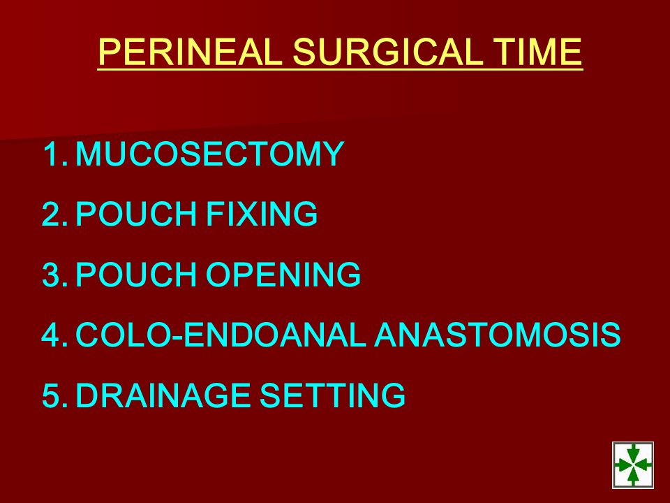 PERINEAL SURGICAL TIME 1.MUCOSECTOMY 2.POUCH FIXING 3.POUCH OPENING 4.COLO-ENDOANAL ANASTOMOSIS 5.DRAINAGE SETTING
